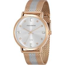 Relógio Mondaine Feminino Esteira Rose Prata 76698LPMVGE1