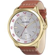Relógio Mondaine Masculino Couro Marrom Dourado 76602GPMVDH2
