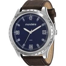 Relógio Mondaine Masculino Couro Prata Azul 83352G0MVNH1