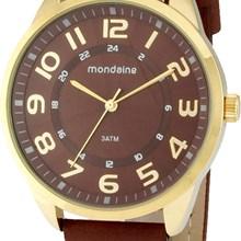 Relógio Mondaine Masculino Dourado Marrom 76210GPMBDH3