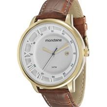 Relógio Mondaine Masculino Dourado Marrom Branco 94792GPMVDH2