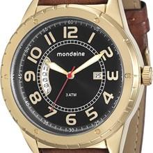 Relógio Mondaine Masculino Dourado Marrom Preto 76543GPMGDH2