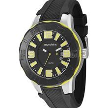 Relógio Mondaine Masculino Prata Preto Amarelo 62018G0MBNU2