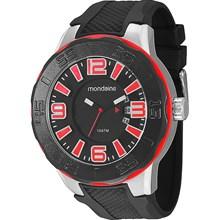 Relógio Mondaine Masculino Prata Preto Vermelho 62018G0MBNU1