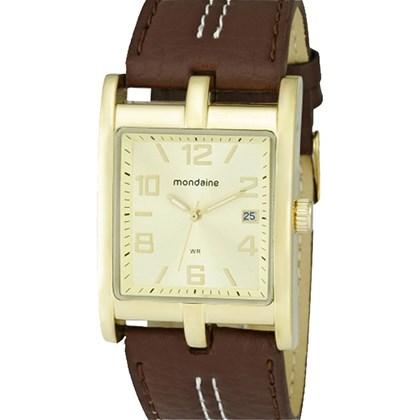 4f23057b4f2 Relógio Mondaine Masculino Quadrado Dourado Marrom 76253GPMBDH2 - My ...