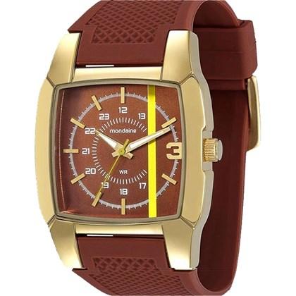 13b723bfb31 Relógio Mondaine Masculino Quadrado Dourado Marrom 76254GPMBDH1 - My ...