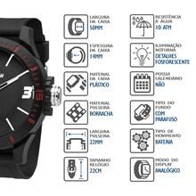 Relógio Mormaii Masculino Preto Vermelho MO2035FL/8R
