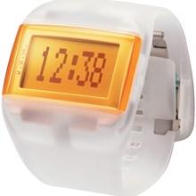 Relógio Odm Feminino Quadrado Branco Laranja DD99A21 BXIX