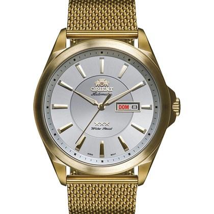 2fbaf18b6e9 Relógio Orient Automático Masculino Dourado Branco 469GP056 S1KX ...