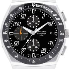 Relógio Orient Masculino Cronógrafo Couro Prata Preto MBSCC006