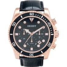 Relógio Orient Masculino Cronógrafo Couro Rose Preto MRSCC006 P1PX