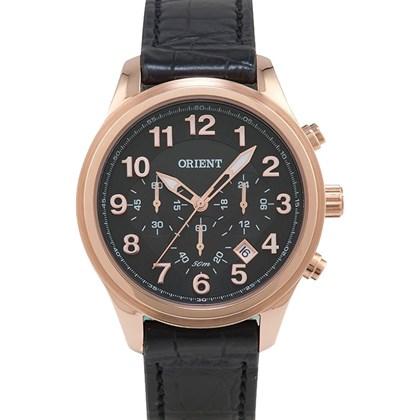 3f08147c248 Relógio Orient Masculino Cronógrafo Couro Rose Preto MRSCC007 P2PX ...