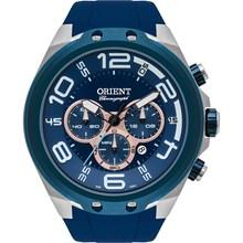 Relógio Orient Masculino Cronógrafo Prata Azul MBSPC036 D2DX