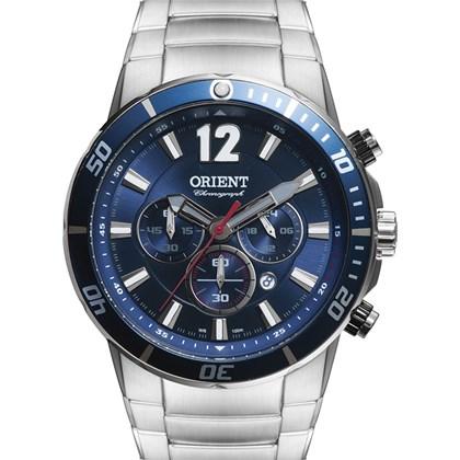 Relógio Orient Masculino Cronógrafo Prata Azul MBSSC123 D2SX