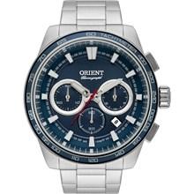 Relógio Orient Masculino Cronógrafo Prata Azul MBSSC161 D1SX