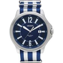 Relógio Orient Masculino Prata Azul Branco MBSN1002 D2BD