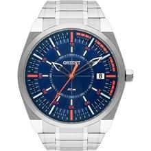 Relógio Orient Masculino Prata Azul Laranja MBSS1316 DOSX