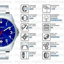Relógio Orient Masculino Prata Azul MBSS1154 D2SX