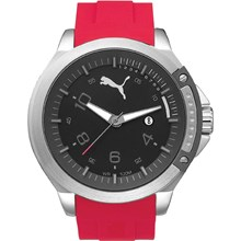 Relógio Puma Masculino Prata Vermelho 96260G0PMNU2