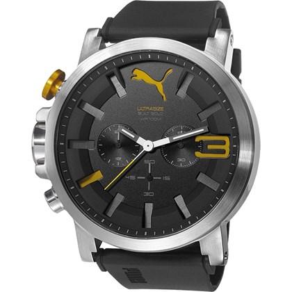 Relógio Puma Ultrasize Cronógrafo Masculino Prata Preto 96258G0PSNU3