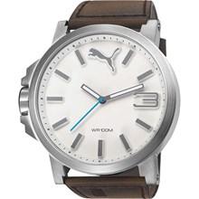 Relógio Puma Ultrasize Masculino Prata Branco Marrom 96239G0PMNC3