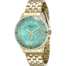 Relógio Seculus Feminino Dourado Azul 28708LPSVDS2