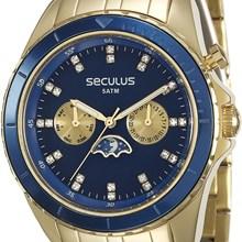 Relógio Seculus Feminino Dourado Azul 28709LPSVDA1