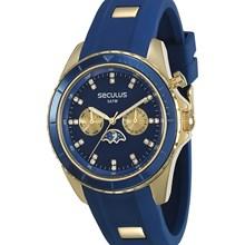 Relógio Seculus Feminino Dourado Azul 28709LPSVDU3
