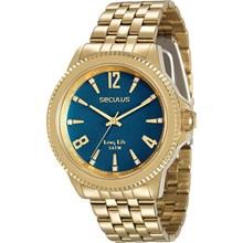 Relógio Seculus Long Life Feminino Dourado Azul 28664LPSVDA3