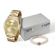 Relógio Seculus Long Life Feminino Dourado Kit Pulseira 28713LPSKDA1K2