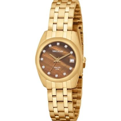 1a7bc7477fe Relógio Seculus Long Life Feminino Dourado Marrom 20016LPSBDA2 - My Time