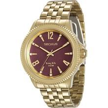 Relógio Seculus Long Life Feminino Dourado Vermelho 28664LPSVDA2
