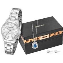 Relógio Seculus Long Life Feminino Prata Kit Colar e Brinco 20394L0SKNA2K1