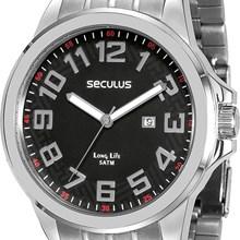 Relógio Seculus Long Life Masculino Prata Kit Chaveiro 28699G0SVNA1K2
