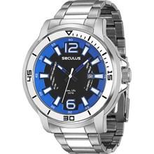 Relógio Seculus Long Life Masculino Prata Preto 23500G0SVNA1