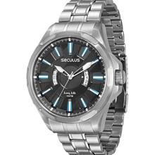 Relógio Seculus Long Life Masculino Prata Preto 28493G0SVNA1