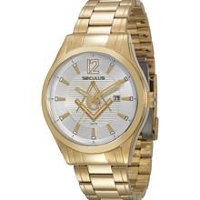 Relógio Seculus Maçon Masculino Dourado Branco 20171GPSVDA1