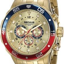 Relógio Seculus Masculino Cronógrafo Dourado 20334GPSVDA2