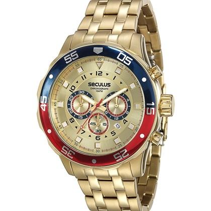 9a19a77b6f5 Relógio Seculus Masculino Cronógrafo Dourado 20334GPSVDA2 - My Time