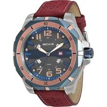 Relógio Seculus Masculino Prata Vermelho 20345G0SVNC3