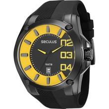 Relógio Seculus Masculino Preto Amarelo 28414GPSVPU1