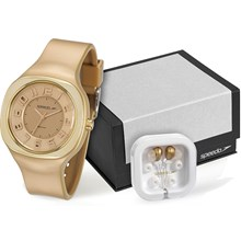Relógio Speedo Feminino Dourado Kit Fone de Ouvido 80598L0EKNP3K1