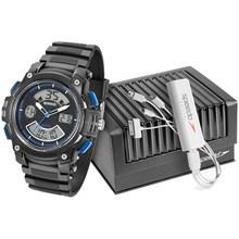 Relógio Speedo Masculino Kit Carregador Preto Azul 81086G0EGNP1K3