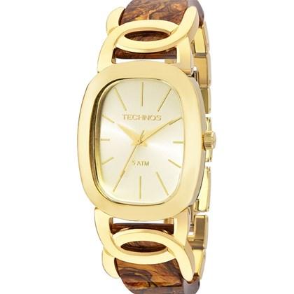 e34d0d681a9 Relógio Technos Feminino Quadrado Dourado Marrom 2035LYL 4X - My Time