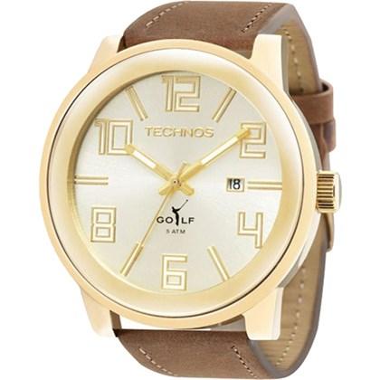 6961c2ddada Relógio Technos Golf Masculino Couro Dourado Marrom 2115KQW 2X - My Time