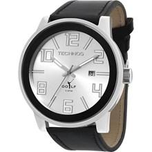 Relógio Technos Golf Masculino Couro Prata Preto 2115KQX/3K