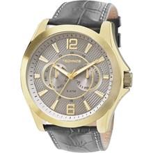 Relógio Technos Masculino Couro Dourado Cinza 6P25AW/2C