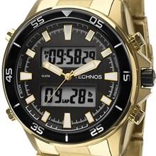 Relógio Technos Masculino Dourado Preto TC131017/4P