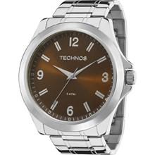 Relógio Technos Masculino Prata Marrom 2035MCX/1M
