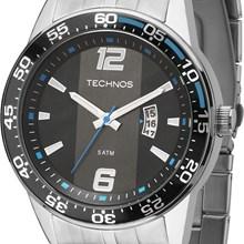 Relógio Technos Masculino Prata Preto Azul 2115KSQ/1A
